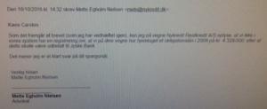 Advokat Mette Egholm Nielsen Nykredit skriver der intet lån findes i Nykredit på 4.328.000 kr.