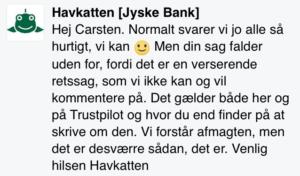 Jyske Bank giver deres bedste svar på bedrageri anklage, INGEN SVAR