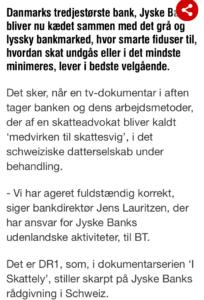 Jyske Bank og det grå marked med lysky foretninger, banken NÆGTER