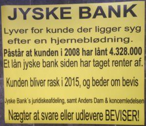 Jyske Bank Lyver det gælder også dem der bliver syge, så er det nemmere. _ skulle de bleve raske må de bagefter, fortsætte kampen imod gigant banken, der nægter at stoppe fortsat svig.